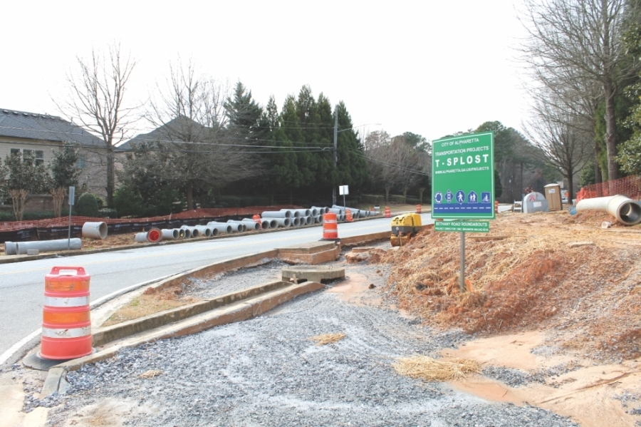 Bethany Road roundabouts are slated for completion in May. (Kara McIntyre/Community Impact Newspaper)