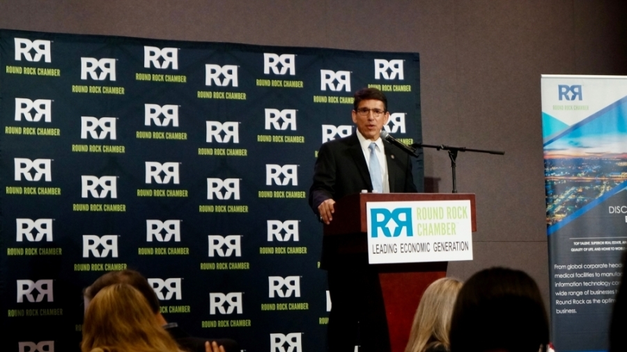 Round Rock ISD Superintendent Steve Flores served as keynote speaker at the Round Rock Chamber's March 12 power lunch. (Kelsey Thompson/Community Impact Newspaper)