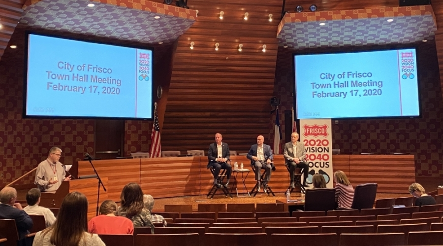 Frisco Mayor Jeff Cheney, Council Member Bill Woodard and City Manager George Purefoy answered resident questions at a February town hall. (Elizabeth Ucles/Community Impact Newspaper)