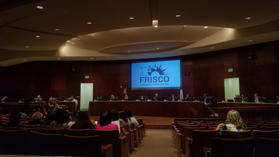 The Frisco ISD board consider an emergency closure of schools during a special meeting March 15. (Elizabeth Ucles/Community Impact Newspaper)