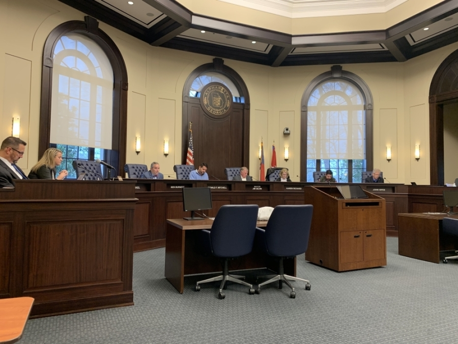 Alpharetta City Council members passed an emergency ordinance March 16 to allow meetings, including binding votes, to be conducted via email during the closure of all city facilities from March 15 to April 12. (Kara McIntyre/Community Impact Newspaper)