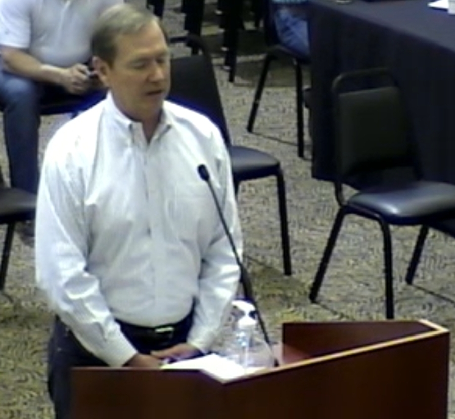 Committee Chair Larry Harlan addresses City Council March 16. (Courtesy city of Lakeway)