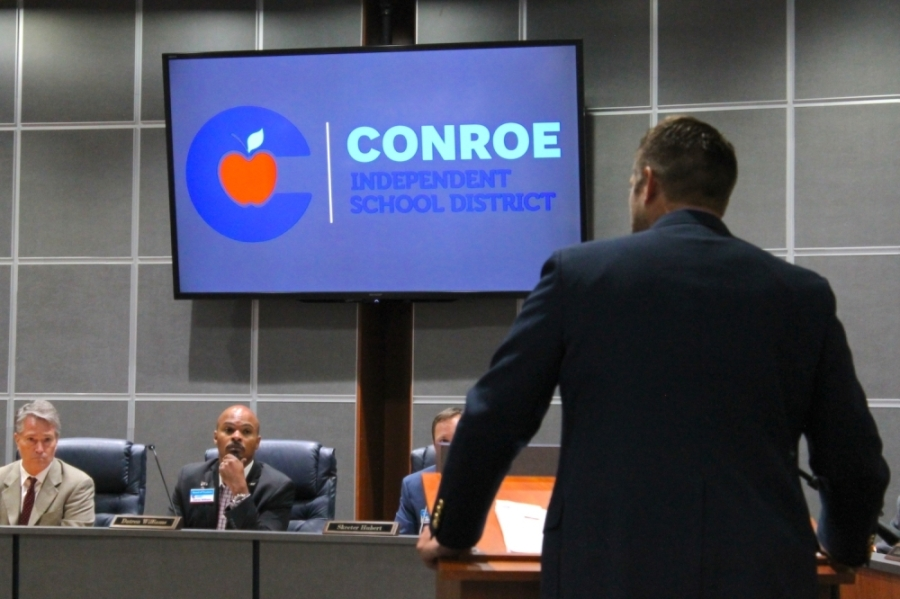 The Conroe ISD board of trustees approved an emergency resolution at its March 17 meeting. (Andy Li/Community Impact Newspaper)