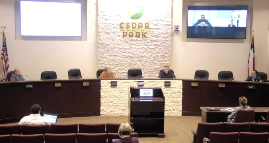 Cedar Park City Council met for an emergency meeting March 22. (Screenshot courtesy city of Cedar Park)