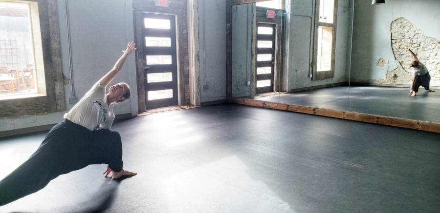 Kelsie Cabrera opened Brave Vira Yoga in September 2018. On March 19, she temporarily closed the studio until further notice, but the studio continues to offer classes online. (Ali Linan/Community Impact Newspaper)