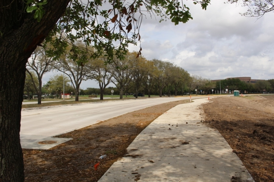 Between Hwy. 90A and Julie Rivers Road, Dairy Ashford Road was widened from two to three lanes, and new sidewalks were installed. (Claire Shoop/Community Impact Newspaper)
