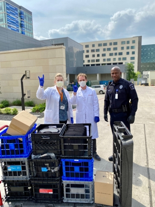 The district delivered iPads to Dell Seton Medical Center March 27. (Courtesy Eanes ISD)