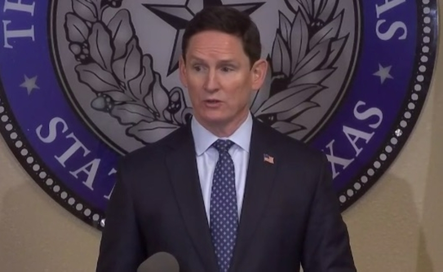 Dallas County Judge Clay Jenkins speaks at a news conference on the COVID-19 pandemic. (Screenshot courtesy FOX 4 News)