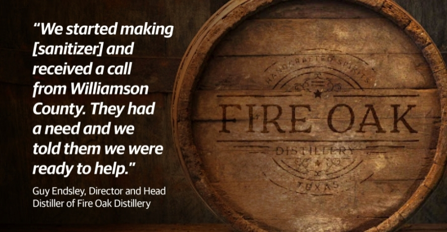 Fire Oak Distillery in Liberty Hill has produced nearly 600 gallons of sanitizer for Williamson County first responders and for the community. (Courtesy Fire Oak Distillery)