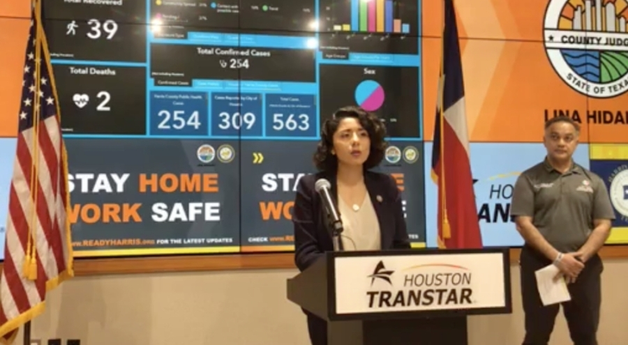 """Harris County Judge Lina Hidalgo provided updates on the county's """"Stay Home-Work Safe"""" order at a March 30 press conference. (Screenshot via Harris County)"""