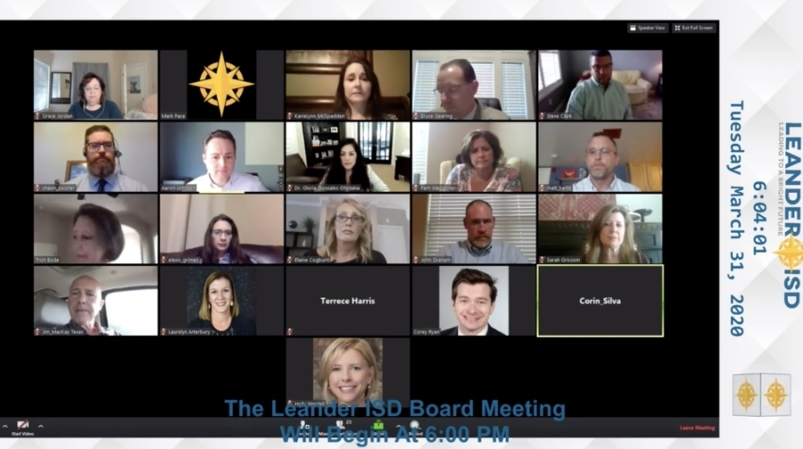 This screenshot shows the March 31 Leander ISD virtual meeting.