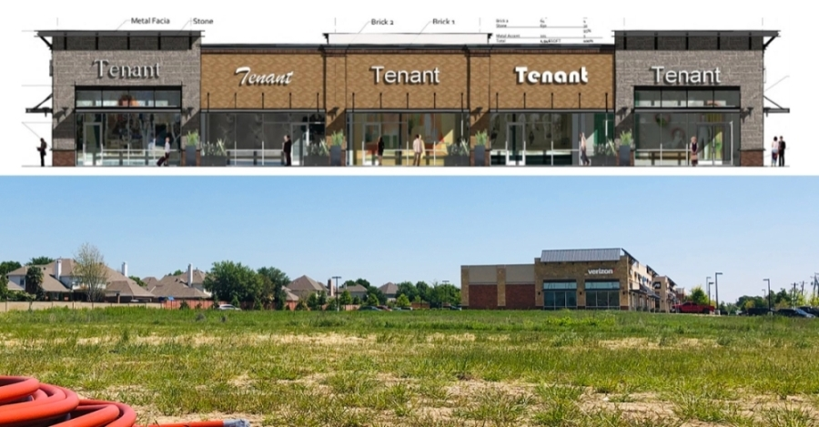 A side-by-side image of a rendering for a future development near Keller Town Center and the current parcel of land at 1301 Keller Parkway, Keller. (Ian Pribanic/Community Impact Newspaper)