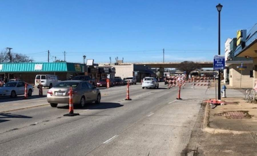 Traffic on Main Street in Richardson has been reduced to one lane since December. (Courtesy city of Richardson)