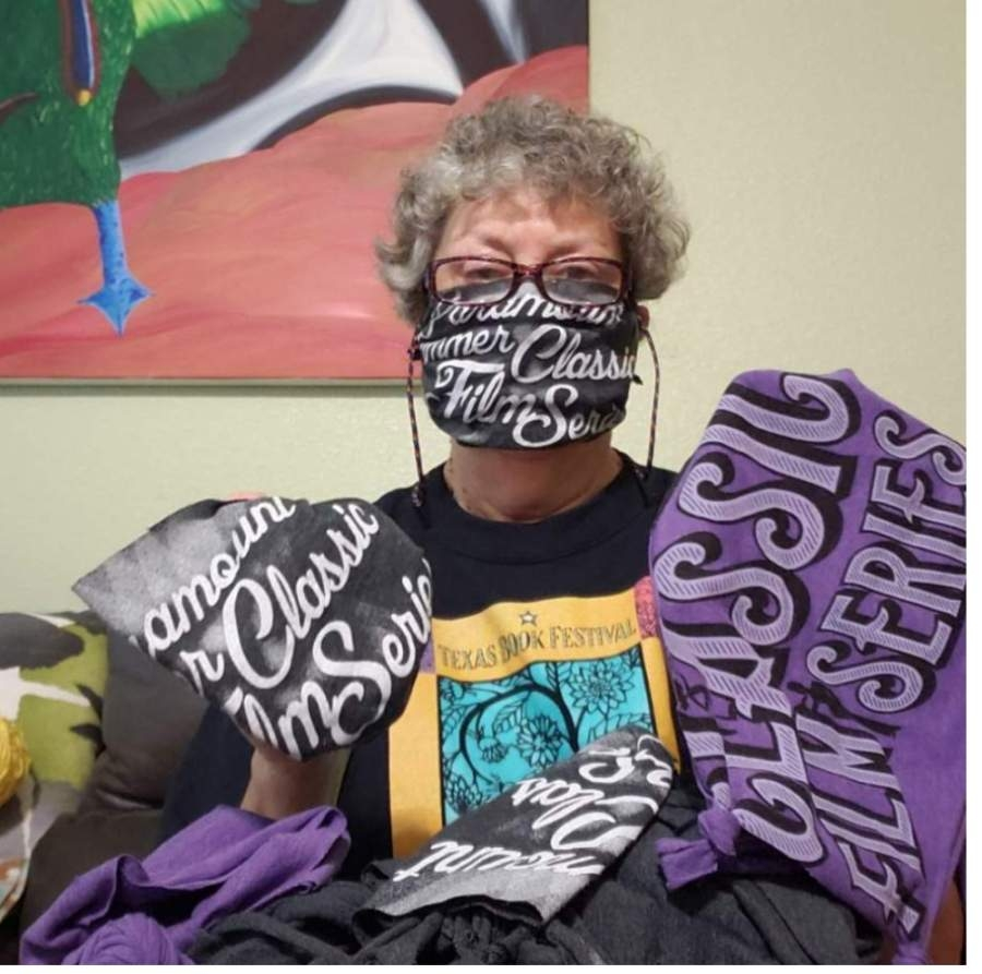 Paramount Theatre volunteers turned 550 T-shirts into face coverings donated to nonprofit and charity organizations around Austin. (Courtesy Paramount Theatre)