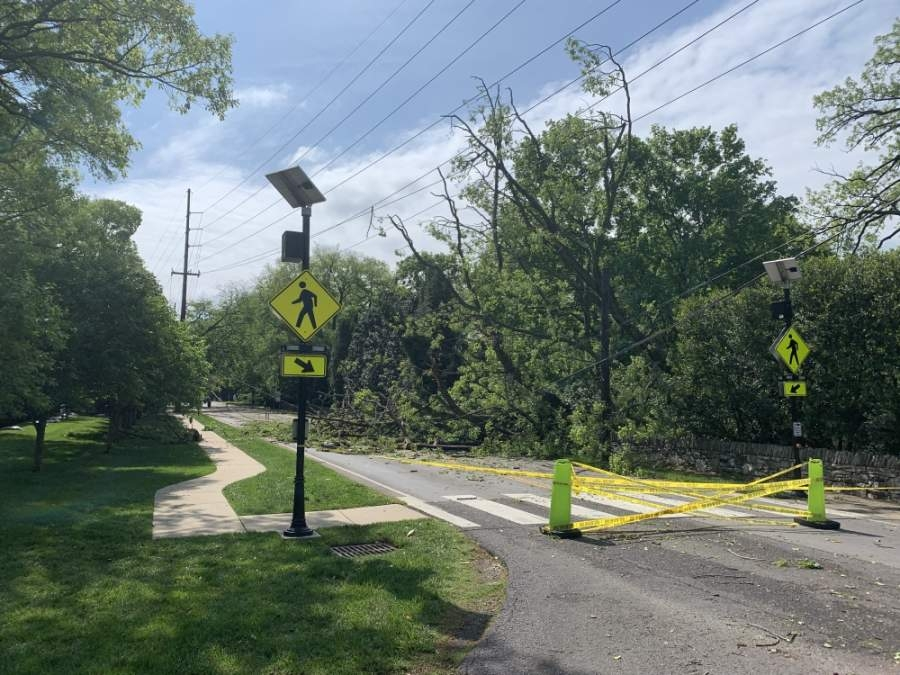 A storm on May 3 caused uprooted trees, downed power lines and blocked roadways in the Southwest Nashville area. (Mary Ella Hazelwood/Community Impact Newspaper)