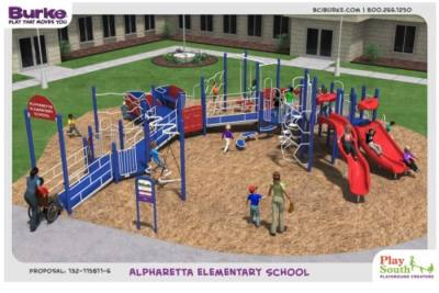 An inclusive playground is coming to Alpharetta Elementary School for both school use and city resident use, per an intergovernmental agreement between the city of Alpharetta and Fulton County Schools. Here is a look at the proposed playground. (Rendering courtesy city of Alpharetta)