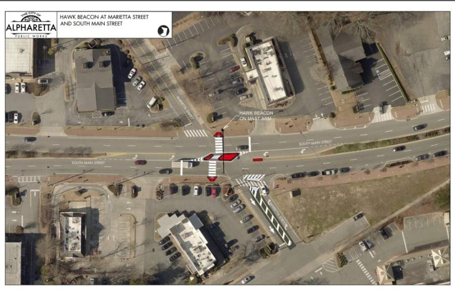 A crosswalk at the mid-block of Marietta and South Main streets will be constructed within the next eight months, per the approval of a construction contract between the city of Alpharetta and Chattahoochee Group, Inc. (Courtesy city of Alpharetta)
