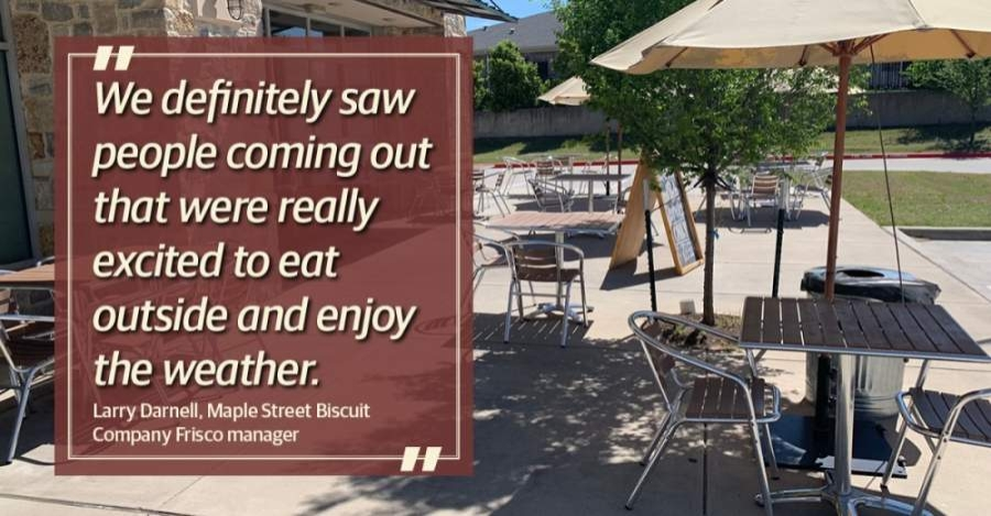 Patio tables are spaced 6 feet apart and have six chairs or fewer at each table. (Cherry He/Community Impact Newspaper)