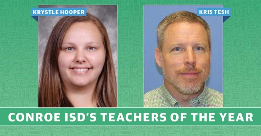 Conroe ISD named two Teachers of the Year during a virtual celebration May 5. (Graphic by Kaitlin Schmidt/Community Impact Newspaper)