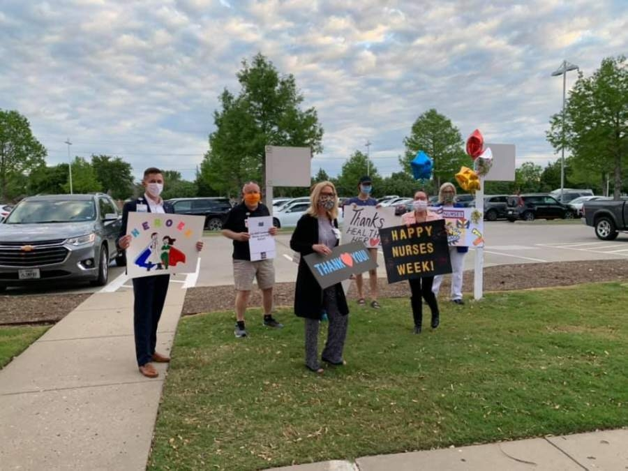Baylor Scott & White Medical Center—Centennial and Frisco Gives Back partnered together to host a morning shift-change cheer for the hospital's National Nurses Week celebrations. (Courtesy Tara Yell)