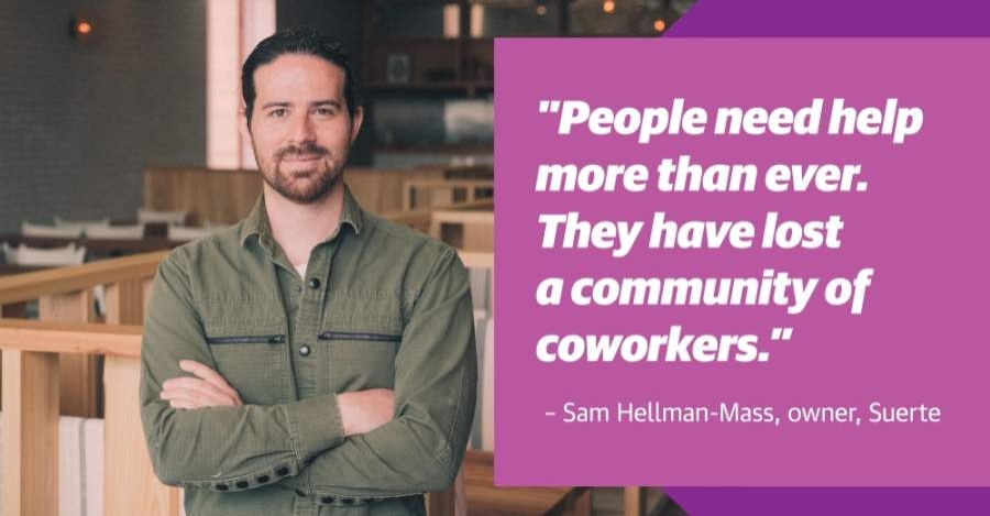 Suerte owner Sam Hellman-Mass is hoping to expand mental health care options for service industry employees after restaurants were decimated by layoffs this spring. (Photo courtesy Suerte; Design by Shelby Savage/Community Impact Newspaper)