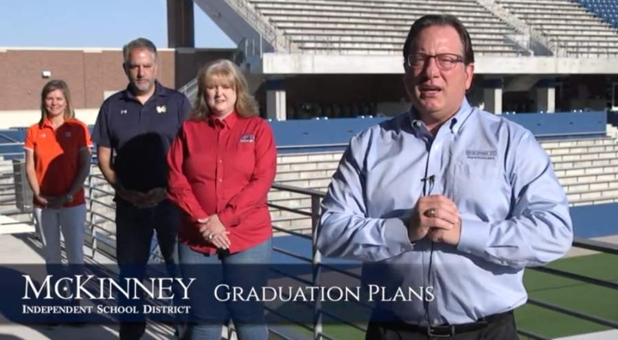 McKinney ISD Superintendent Rick McDaniel, right, gives an overview of the district's upcoming senior graduation ceremonies in a video. (Screenshot by Miranda Jaimes/Community Impact Newspaper)