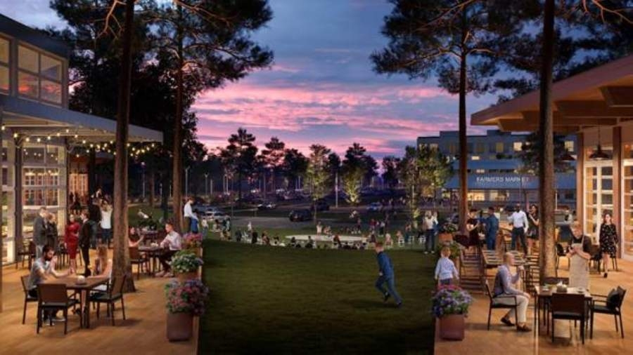 This is a rendering of the possible look of Center Stage, a mixed-use commercial and residential development that will be located at the intersection of Hwy. 377 and Mt. Gilead Road. (Courtesy Realty Capital Management)