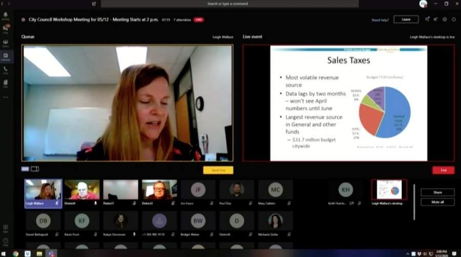 Georgetown Finance Director Leigh Wallace presents to City Council members and staff virtually at a May 12 workshop. (Screenshot courtesy city of Georgetown)