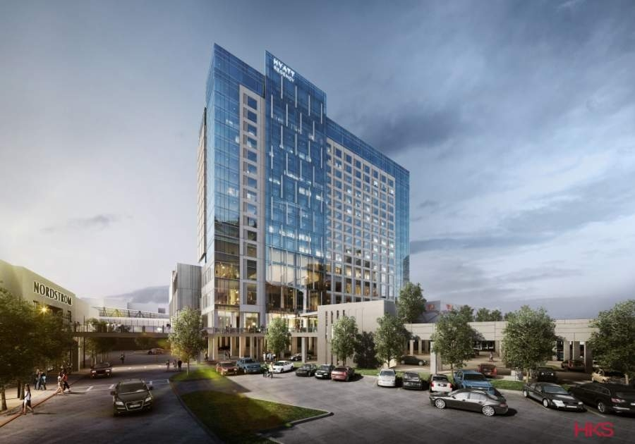 The hotel is attached to Stonebriar Centre on the second floor and is located between Nordstrom and Dillard's. (Rendering courtesy HKS Inc. Architects)