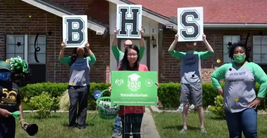District staff dropped off a yard sign to the Berkner High School valedictorian in late April. (Courtesy YouTube)