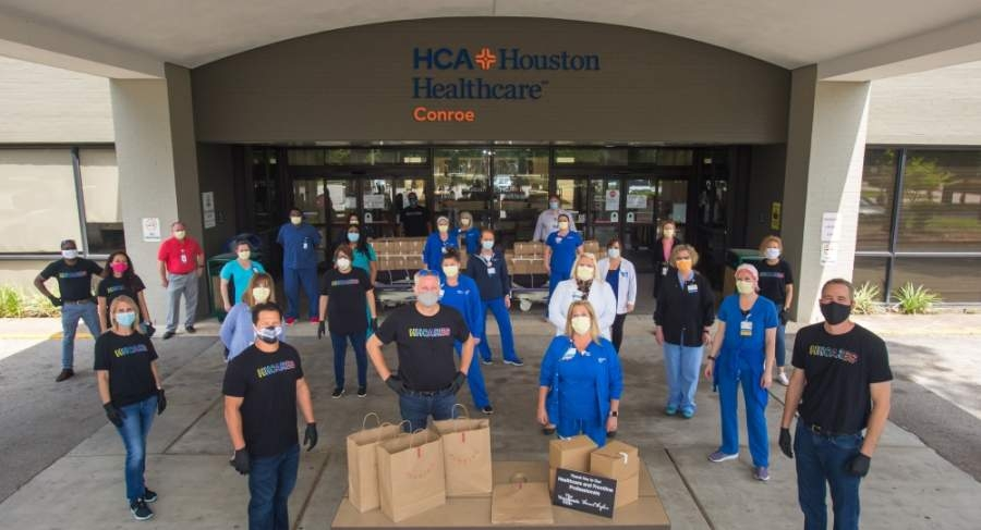 Executives from The Howard Hughes Corp. and its master-planned community The Woodlands Hills thanked medical and front-line personnel at HCA Houston Healthcare Conroe with a boxed lunch from Sorriso Modern Italian Kitchen. (Courtesy The Woodlands Hills)