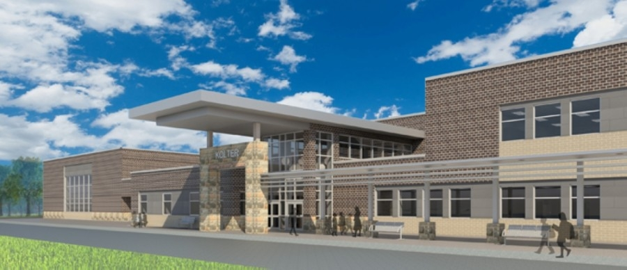 Kolter Elementary School, shown in this rendering, will not be ready until August, according to Houston ISD. (Courtesy Houston ISD)
