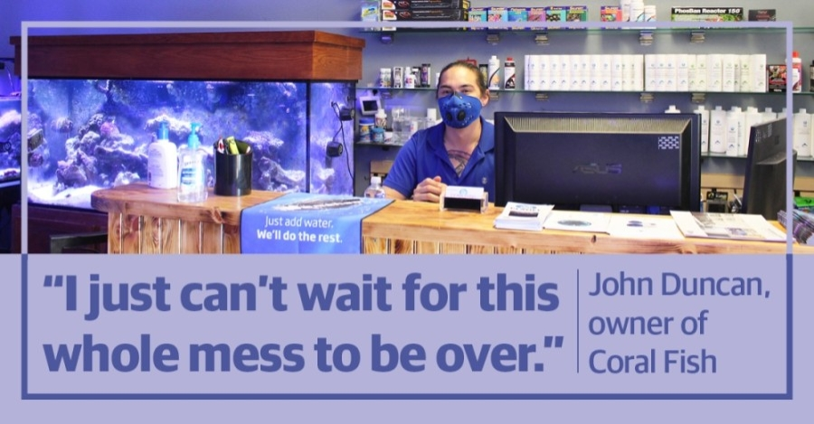 Like many other businesses in the area, Coral Fish and Beyond owner John Duncan is adapting to COVID-19 restrictions. (Ian Pribanic/Community Impact Newspaper)