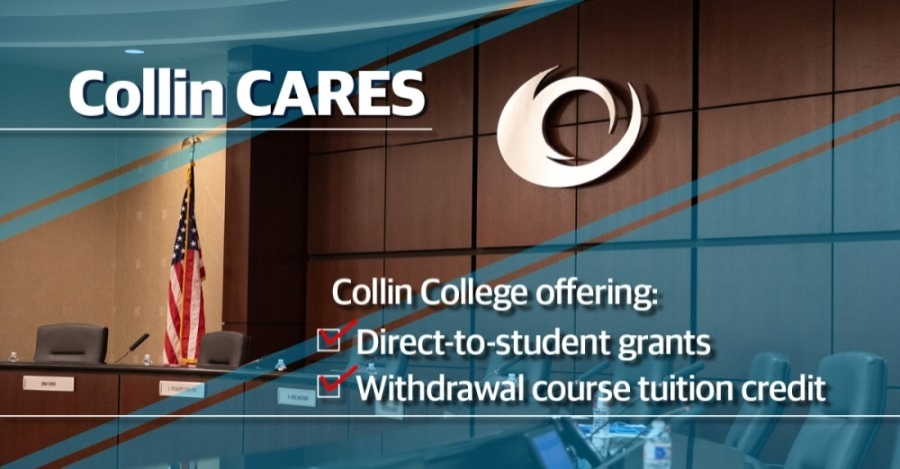 Collin College is providing this assistance in partnership with the U.S. Department of Education and the Coronavirus Aid, Relief, and Economic Security Act. (Chase Autin/Community Impact Newspaper)