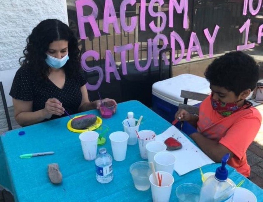 The public had the opportunity to paint large stones with positive messages during the first Rocks Against Racism event June 6. (Courtesy Good Stuff in Frisco)