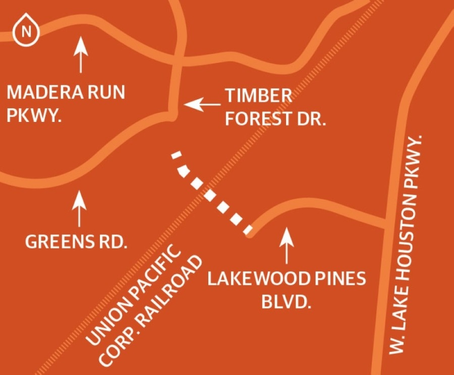 Harris County Precinct 2 is partnering with Harris County Precinct 1 and Humble ISD to extend Timber Forest Drive south of Madera Run Parkway. (Designed by Ethan Pham)