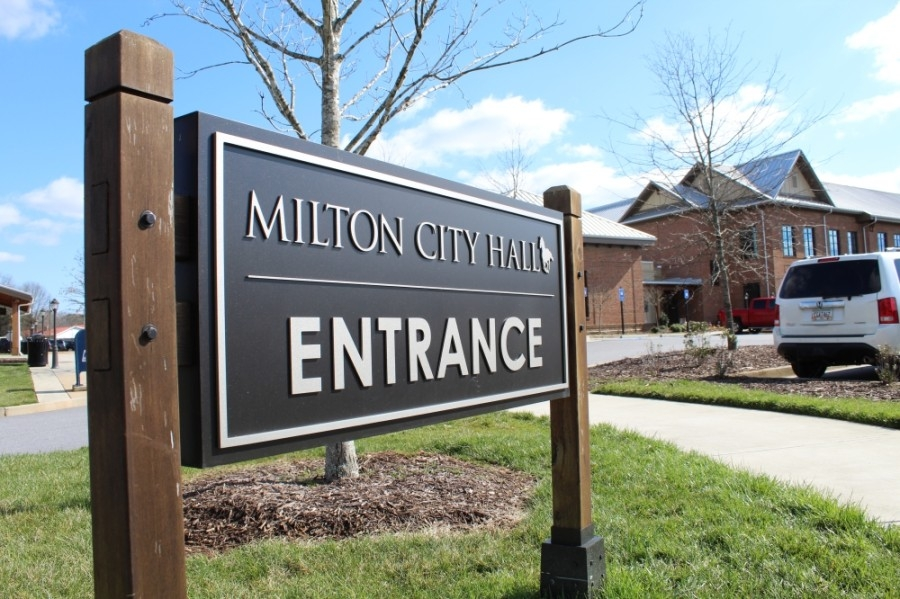 Milton City Hall entrance sign