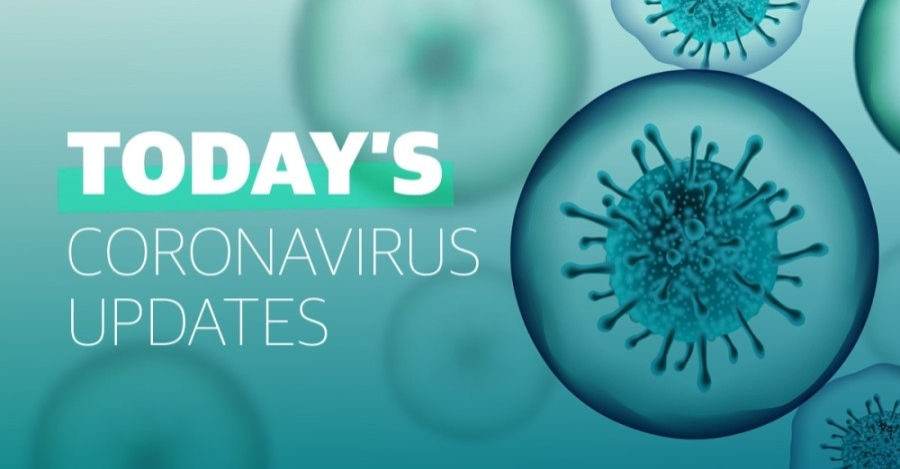 """A teal graphic that reads """"Today's coronavirus updates"""""""