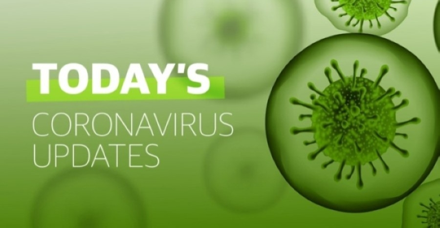 """A graphic that reads """"today's coronavirus updates"""""""
