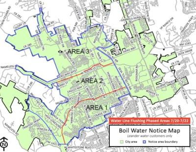 The city began its water line flushing on Monday to remove air and debris in the system. (Courtesy city of Leander)