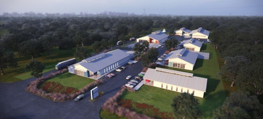 The 85,000-square-foot warehouse and business park will feature six buildings ranging from 5,000 to 35,000 square feet. (Rendering courtesy Local Architects)