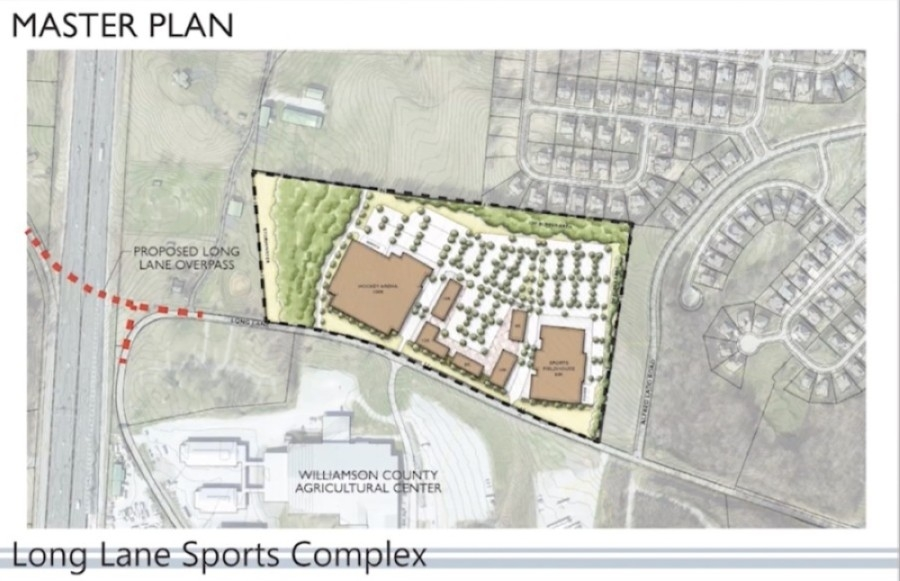 The proposed sports complex would be located north of the Williamson County Ag Expo Center. (Screenshot via YouTube, city of Franklin)
