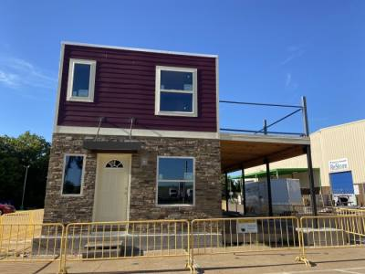 A new affordable housing community called the Cotton Groves will feature homes made of shipping containers. (Courtesy Habitat for Humanity)