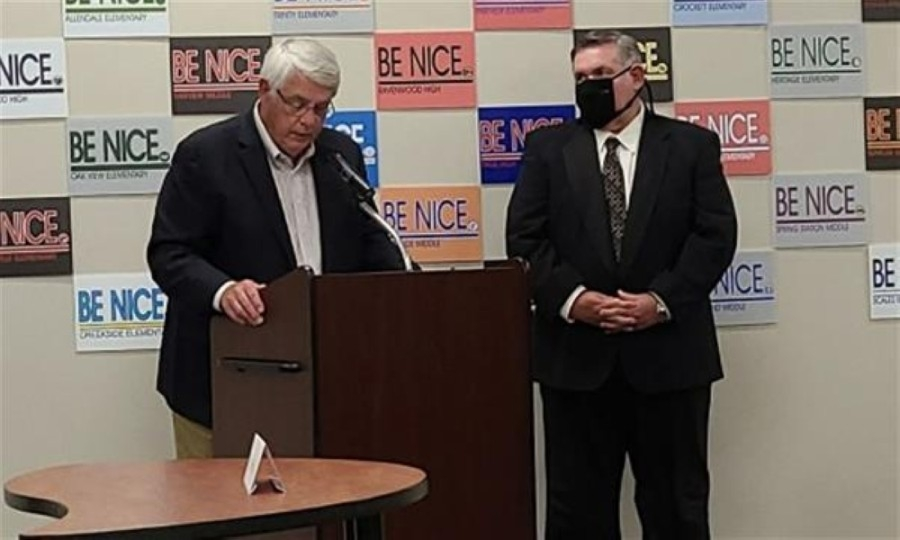 Board chair Gary Anderson (right) was honored for his 30 years of service on the Williamson County Schools Board of Education. (Courtesy Williamson County Schools)