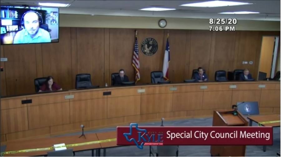 Kyle City Council held a special meeting Aug. 25. (Screen shot courtesy city of Kyle)