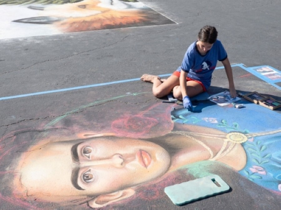 """Participants can draw chalk artwork on their sidewalks and driveways that help promotes the event's theme of """"Round Rock spirit."""" (Courtesy city of Round Rock)"""