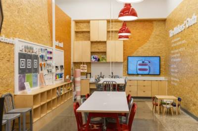 """The """"maker space"""" is used to host classes and demonstrations. (Courtesy Michaels)"""