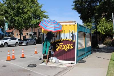 A local artist customized McKinney's new box from Better Block in a Box. (Miranda Jaimes/Community Impact Newspaper)