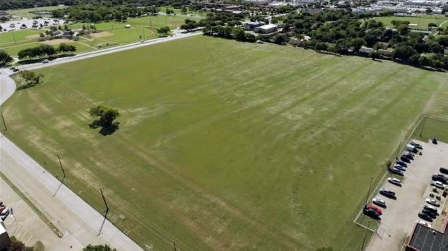 An aerial image of the 26-acre property shows where a potential field sports facility may be housed in the future. (Courtesy city of Richardson)