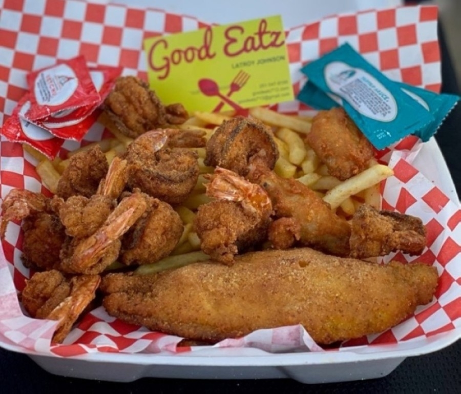 The eatery specializes in wings, fish, boudin and burgers and can be booked to cater private events. (Courtesy Good Eatz)